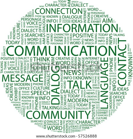 COMMUNICATION. Word collage on white background. Illustration with different association terms. - stock vector