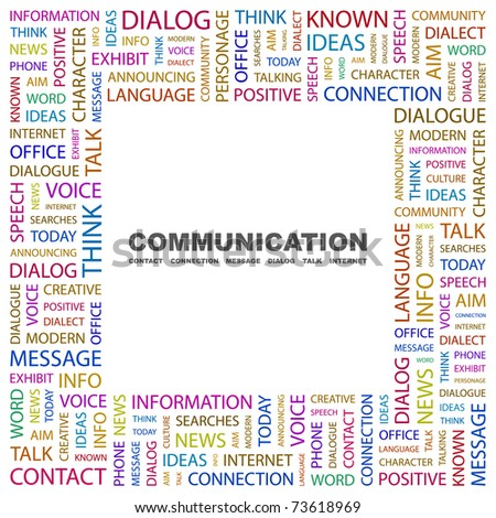 COMMUNICATION. Word collage on white background. Vector illustration. Illustration with different association terms. - stock vector