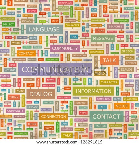 COMMUNICATION. Word collage. Seamless illustration. - stock vector