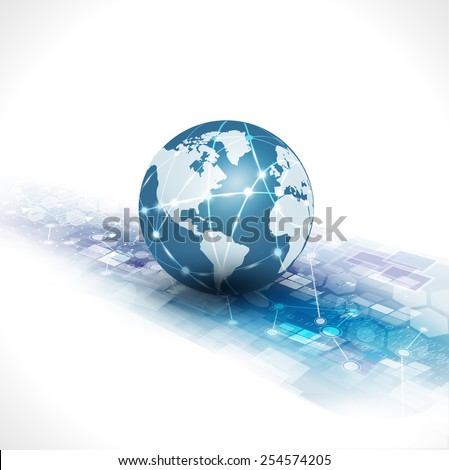 communication world & technology business  flow motion isolate white background, vector illustration - stock vector