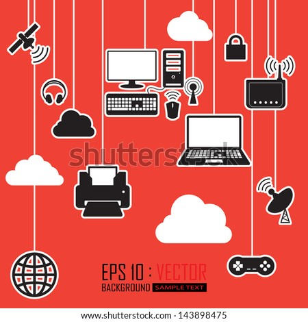 communications cloud network - stock vector