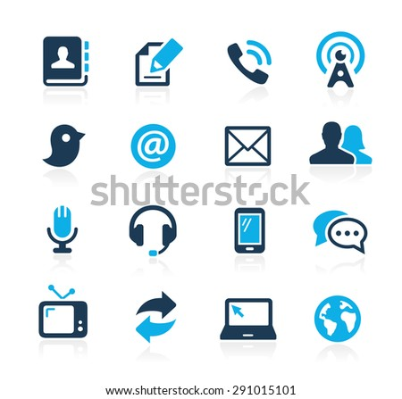 Communications Icons // Azure Series - stock vector