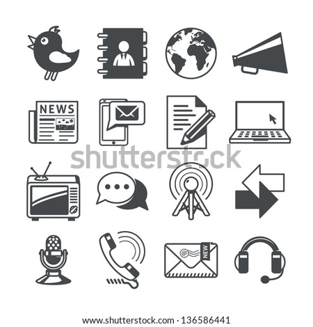 Communications icons set. RAW series - stock vector