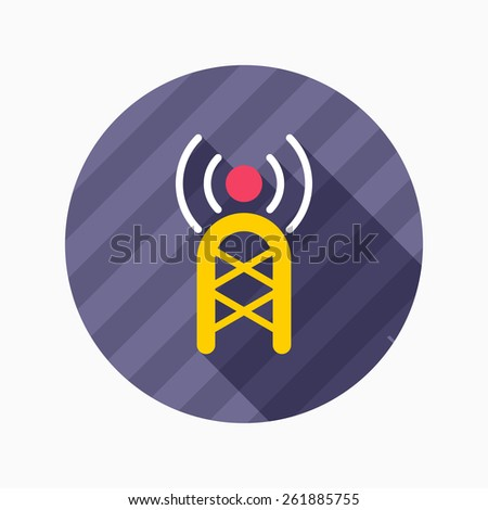 Communications tower flat icon with long shadow on blue circle background , vector illustration , eps10 - stock vector