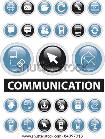 communiction buttons, icons, signs, vector illustrations - stock vector
