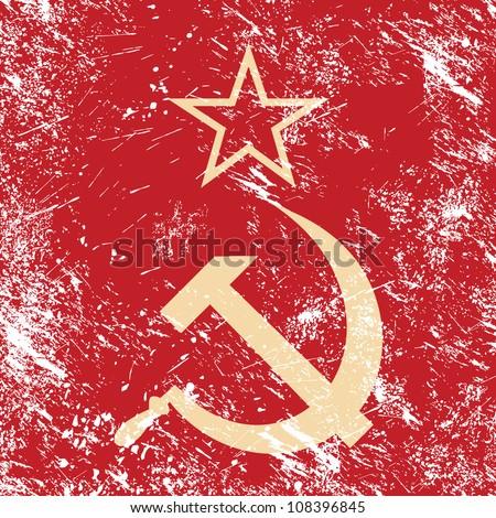 Communism CCCP - Soviet union retro flag - stock vector