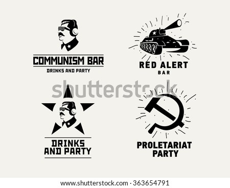 Communism style logos restaurant bar design vector template. Dictator, star and tank silhouette for night club party - stock vector