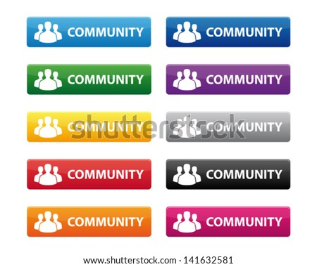 Community buttons - stock vector