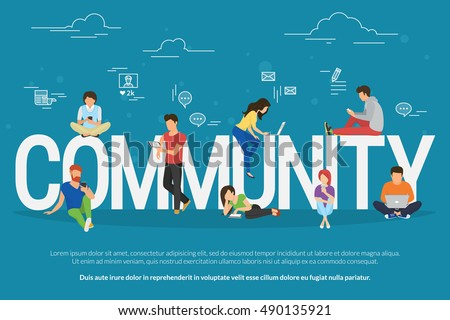 Community concept illustration of young people using mobile gadgets such as smarthone, tablet and laptop to be a part of internet community. Flat design of guys and young women on letters with symbols