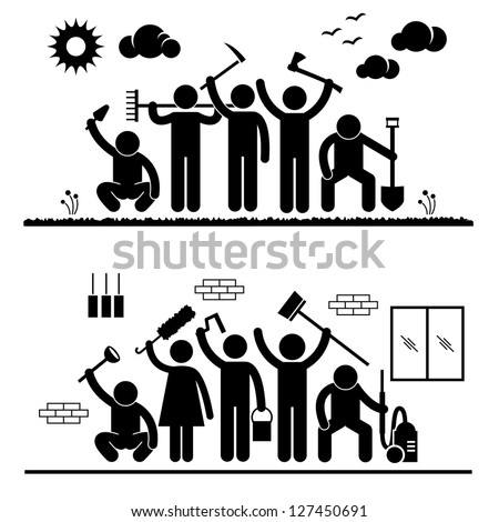 Community Effort People Humanity Volunteer Group Cleaning Outdoor Park Indoor House Stick Figure Pictogram Icon - stock vector