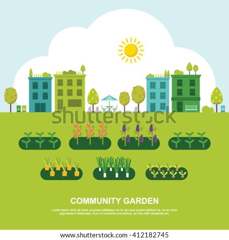 Community fruit and vegetable garden flat vector illustration