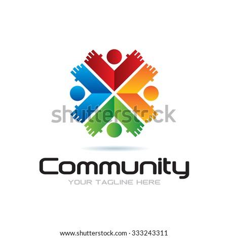 Community Icon Logo - stock vector