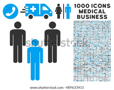 Community icon with 1000 medical business bicolor blue and gray vector pictographs. Set style is flat symbols, white background.