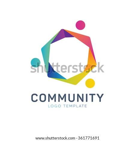 Community logo. Teamwork logo. Social logo. Partnership logo. Communication logo - stock vector
