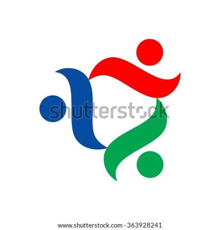 community logo. three person logo vector. - stock vector