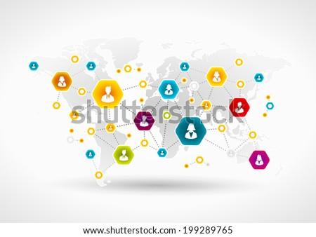 Community network around the world - stock vector
