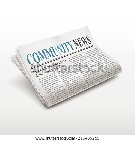 community news words on newspaper over white background