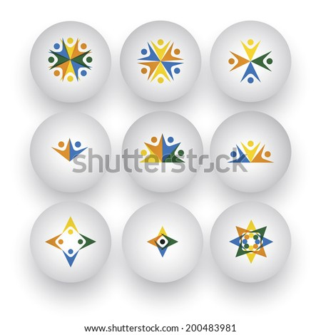 community, unity, happy people, children playing vector icons. This graphic also represents buttons with people together, employees & executives meeting, friends & friendship, kids at school - stock vector