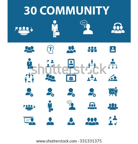 community, users icons - stock vector