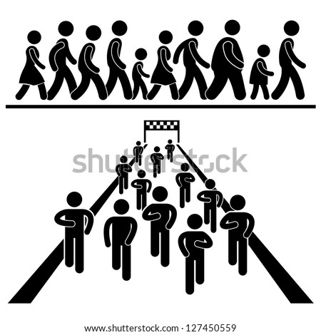 Community Walk and Run Marching Marathon Rally Stick Figure Pictogram Icon - stock vector