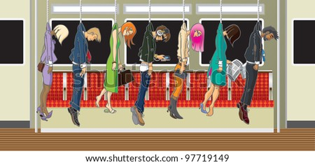 Commuters Vector illustration of commuters on the subway, heading to work. Fully editable layers included.