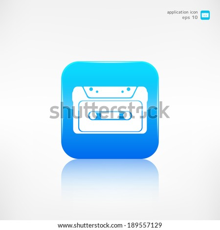 Compact Cassette icon, flat design, hipster style - stock vector