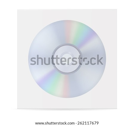 Compact disc and  envelope with window.  Vector Illustration isolated on white background.
