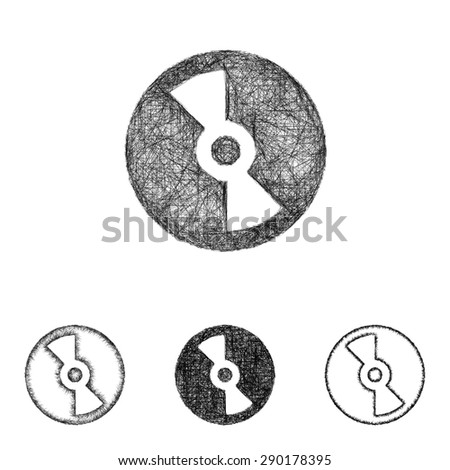 Compact disc icon design set - sketch line art - stock vector