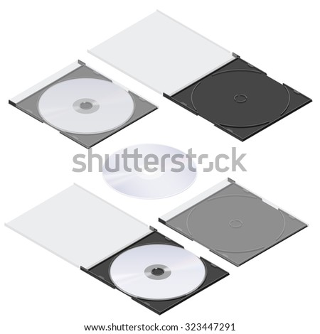 Compact disc isometric detailed set vector graphic illustration - stock vector