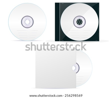 Compact disc set: cd, box, cover- vector drawing isolated on white background