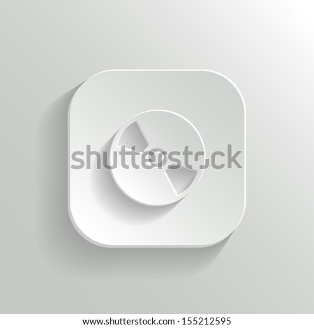 Compact disk icon - vector white app button with shadow