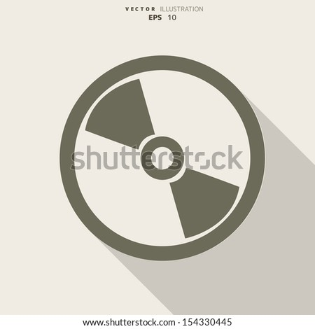 Compact disk web icon, flat design - stock vector