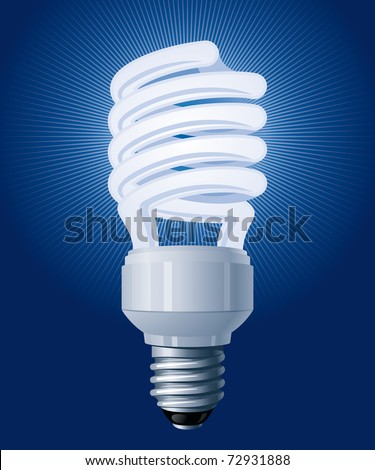 Compact Fluorescent Lamp (CFL). Vector Illustration (EPS v. 8.0) - stock vector