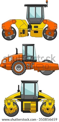 Compactors. Heavy construction machine. Detailed illustration of compactors, heavy equipment and machinery. Vector illustration.