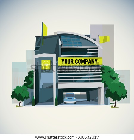 company building in city - vector illustration - stock vector