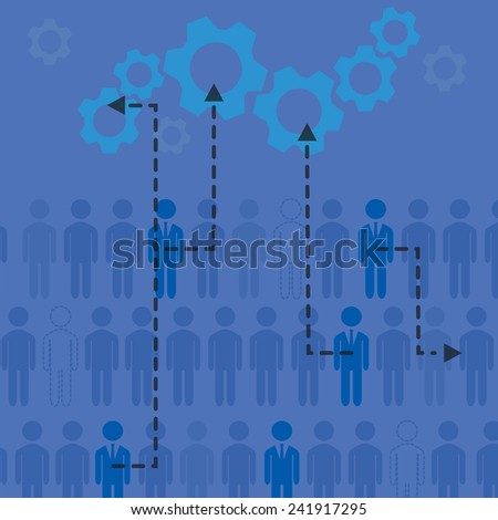 Company concept. Work people and managers working together vector illustration. - stock vector