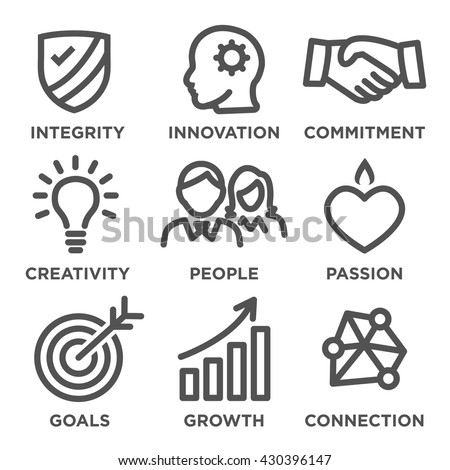 Company Core Values Outline Icons Websites Stock Vector Royalty