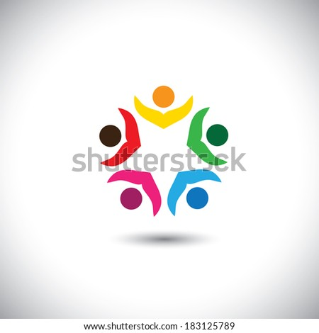 company executives board meeting & brainstorming - concept vector. This abstract graphic icon represents support group meeting, students learning, people together, management strategy & planning - stock vector