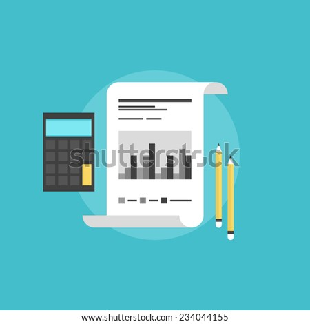 Company financial accounting, market statistics with calculator and pencils, corporate data analyzing. Flat icon modern design style vector illustration concept. - stock vector