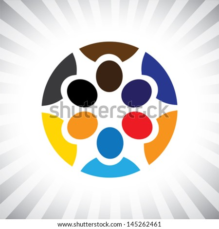 company key executives team meeting ( brainstorm )- simple vector graphic. This illustration represents children playing, kids having fun, employee meeting, workers unity & diversity, people community - stock vector