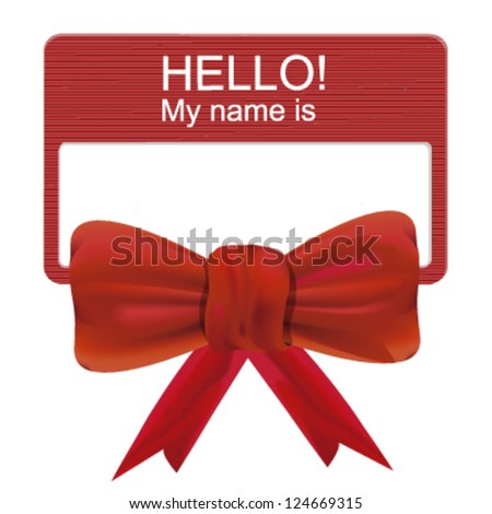 Company name card with a red ribbon loop - stock vector