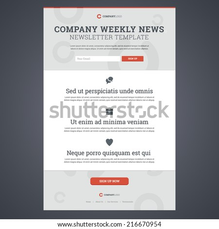 Company News Newsletter Template Sign Form Stock Vector 216670954