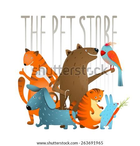 Company of Cartoon Domestic Animals. Set of colorful cartoon domestic animals on a white background. Vector EPS10. - stock vector