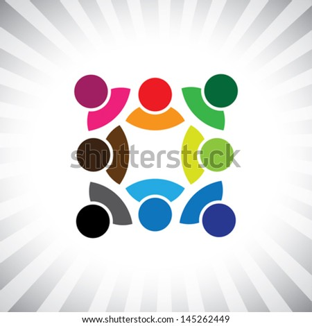 company's business leaders & followers meeting- vector graphic. This illustration can also represent children playing,kids having fun,employee meeting,workers unity & diversity, people community - stock vector