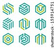 Company vector logo design elements. Set of nine abstract hexagon shaped vector symbols. - stock
