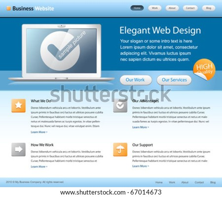 company web design - website home page template - with grids on a layout - blue, white colors - modern, clean and simple - stock vector