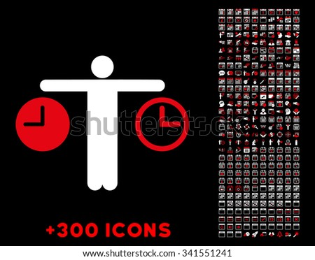 Compare Time vector pictogram with additional 300 date and time management icons. Style is bicolor flat symbols, red and white colors, rounded angles, black background. - stock vector