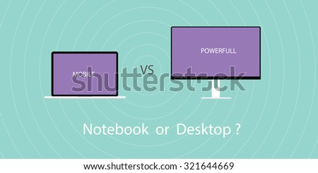 comparing between notebook or laptop with pc desktop - stock vector