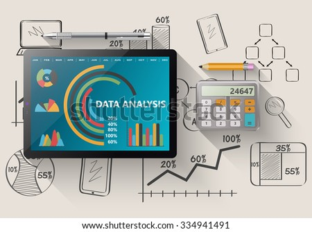Comparing statistics in business,  info-graphics report charts - stock vector
