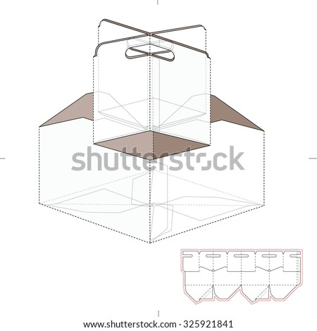 Compartmentalized Tray Box with Die Line Template - stock vector